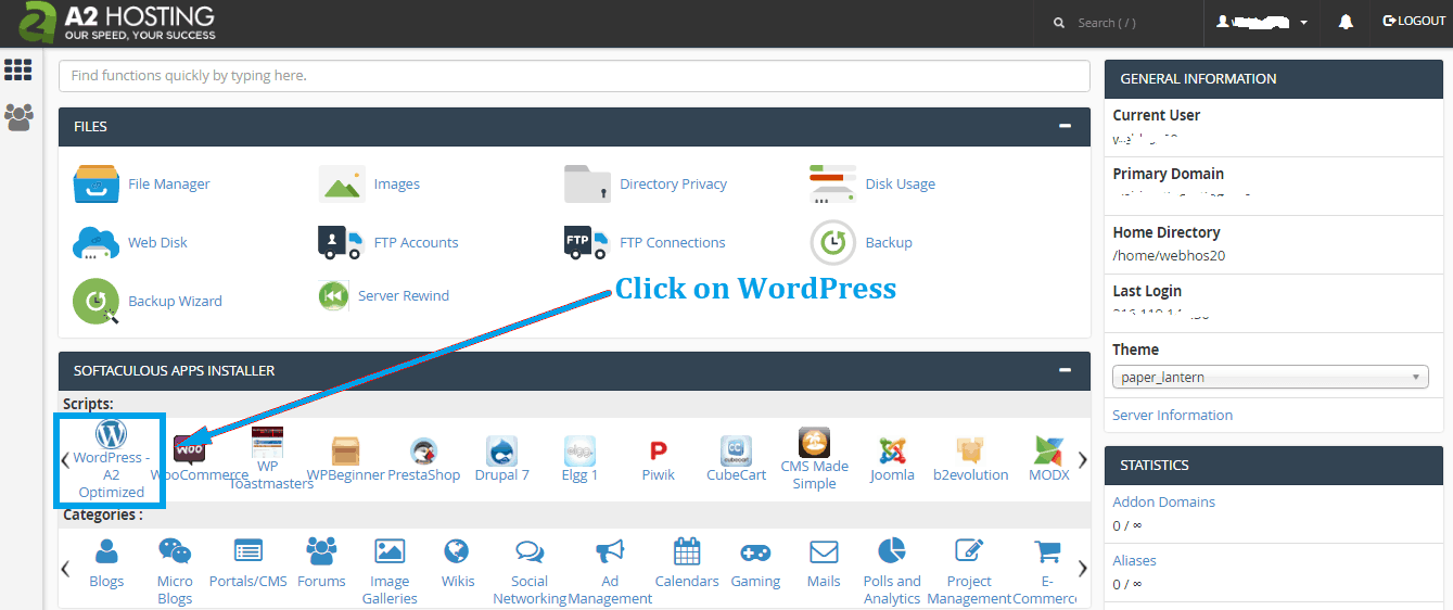 install wordpress on a2hosting