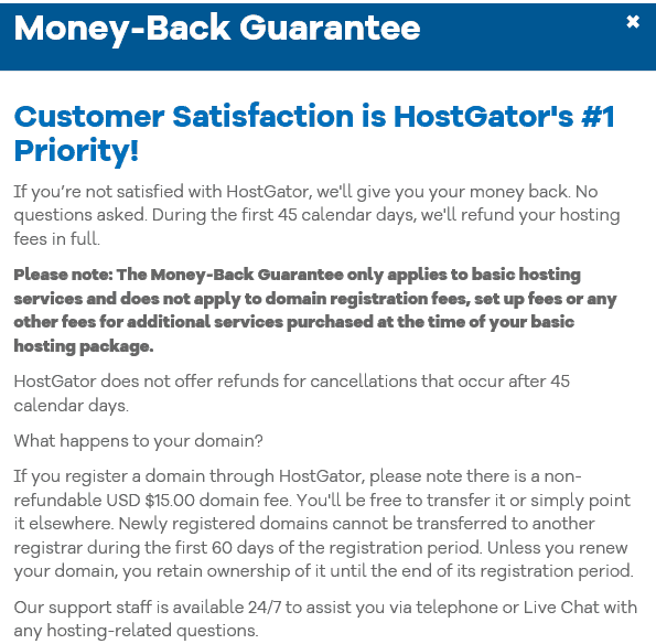 Hostgator moneyback